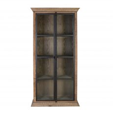 wooden bookcase with glass panel doors
