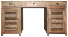 Block & Chisel 3 drawer desk with 2 louvre doors