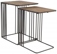 Block & Chisel wooden nesting side tables with iron frame