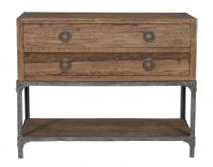 2 drawer metal and wood console with bottom shelf