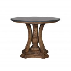 Old Elm round table with stone top