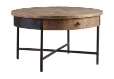 round elm coffee table with metal cross base