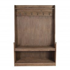 reclaimed oak entrance hall stand with hooks and seat