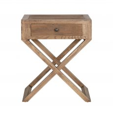 reclaimed oak bedside with 1 drawer and cross leg