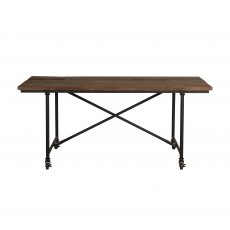 industrial style dining table with metal legs and wood top.