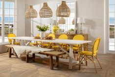 Yellow and white parisian french cafe armchair