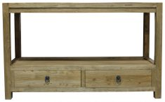 Block & Chisel natural 2 drawer console table with shelf