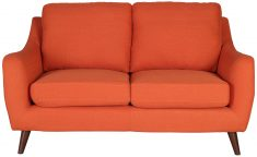 Block & Chisel orange upholstered 2 seater sofa