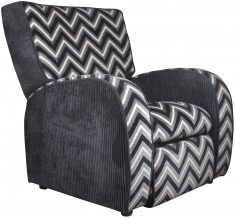 Block & Chisel black, grey and white striped upholstered armchair