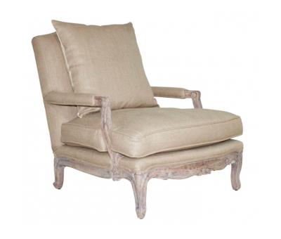 Block & Chisel hessian upholstered armchair