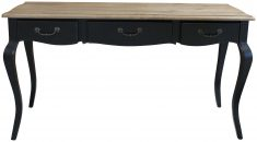 Block & Chisel black poplar wood 3 drawer console with weathered oak top