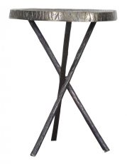 Block & Chisel round brass top side table