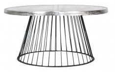 Block & Chisel round raw nickel top coffee table