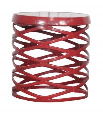 Block & Chisel round red stool