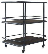 Block & Chisel black metal 3 tier trolley with brass tops