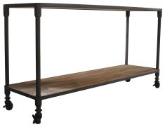 Block & Chisel recycled pine console with iron base on wheels
