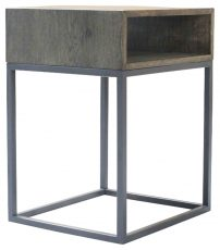 Block & Chisel Antique Weathered Oak side table with matt black iron base