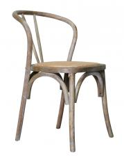 Block & Chisel oak wood dining chair with rattan seat