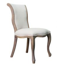 Block & Chisel upholstered dining chair with oak cabriole legs