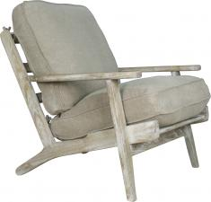 Block & Chisel cream upholstered lounge chair with oak wood frame