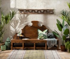wooden carved bench in recycled pine