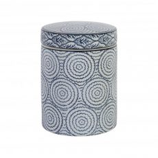 blue and white ceramic jar with lid circle design