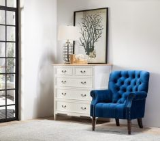 navy blue velvet occasional armchair with tufted details