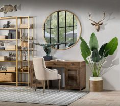 Hamilton Desk - Wooden table with slatted doors and 3 drawers