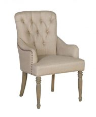 Armchair with linen upholstery and tufted details