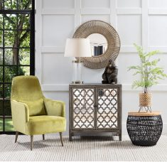 Emily occasional chair in green upholstery with additional back cushion