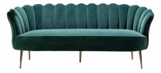 marina scalloped shape back in green with high armrest sofa