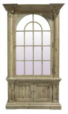Block & Chisel wooden cabinet with arched glass door