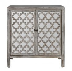 Iris Cabinet with mirrored geometric doors and black handles