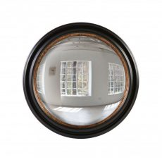 Convex mirror with wooden black and brown frame