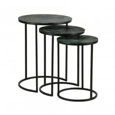 block and chisel metal nesting tables with green detail top