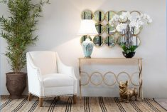 Jolene Console - Circular iron gold base with glass top console