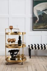 Block & Chisel round 3-tier trolley with iron frame and mirrored shelves