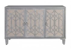 Elizabeth sideboard server with 3 doors in off grey colour and geometric pattern
