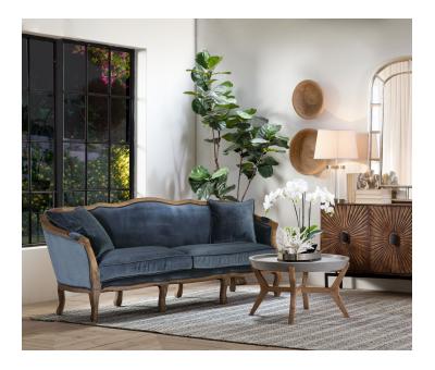 Blue velvet 3 seater sofa with cabriole legs