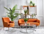 Orange velveteen seating