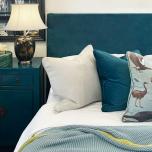velvet cushion in evergreen