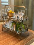 metal and mirror 2 tier stand