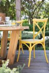 Cross Back PVC Yellow Dining Cafe Chair