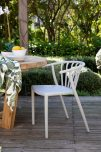 Heather - Light grey horseshoe back outdoor dining chair
