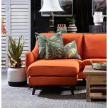 Block & Chisel orange velvet upholstered ottoman