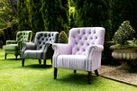 Dorothy Tufted armchair in silver grey