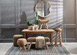Block & Chisel woven water hyacinth bench with teak wood legs
