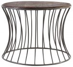Block & Chisel round wooden side table with iron base