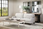 Block & Chisel beige upholstered sofa bed with wooden legs