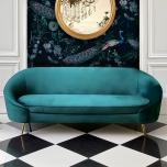 Block & Chisel modern green velvet sofa